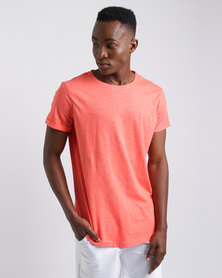 Unruly Longer Length Slub T-Shirt Orange