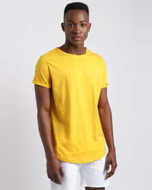 Unruly Longer Length Slub T-Shirt Yellow