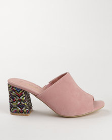 Urban Zone Block Heel Mule Pink Micro Fibre