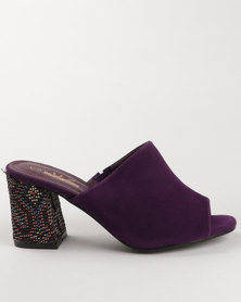 Urban Zone Block Heel Mule Purple  Micro Fibre