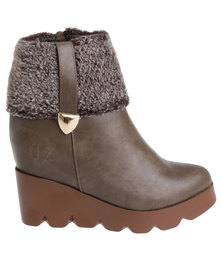 Urban Zone Fur Wedge Boots Green