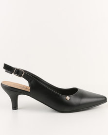 Urban Zone Pointy Slingback Kitten Heels Black