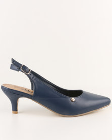 Urban Zone Pointy Slingback Kitten Heels Navy
