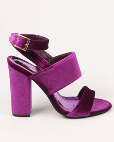 Urban Zone Block Heel Sandal Purple Velvet