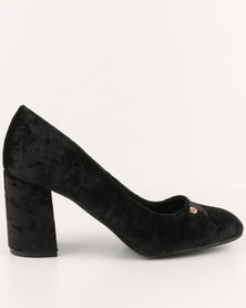 Urban Zone Block Heel Court Shoes Black