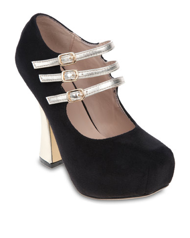Urban Zone Metallic Platform Heels Black