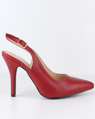 Urban Zone High Heel Slingback Pointy Court Shoe Burgundy