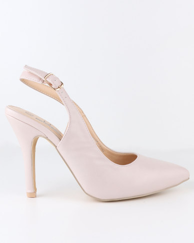 Urban Zone High Heel Slingback Pointy Court Shoe Nude
