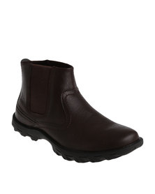 UrbanArt Track 3 Wax Casual Gusset Slip On Ankle Boots Brown