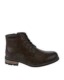 Urbanart Vivlite 14 Wax Casual Lace Up Ankle Boot Choc Brown