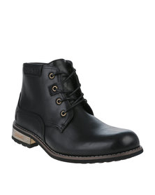 Urbanart  Vivlite 14 Wax Casual Lace Up Ankle Boot Black