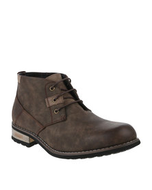 Urbanart Vivlite 11 NUB Casual Lace Up Ankle Boots Brown