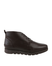 Urbanart Zero 1 Wax Casual Lace Up Ankle Boots Brown