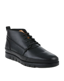 Urbanart Zero 1 Wax Casual Lace Up Ankle Boots Black
