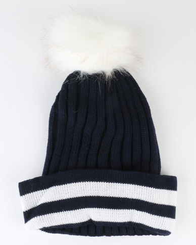 Utopia Ladies Winter Beanie Stripe Pom Pom Navy