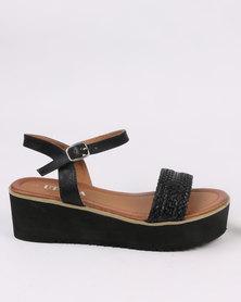 Utopia Woven Wedge Sandal Black