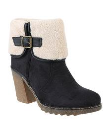 Utopia Fur Collar Boot Black