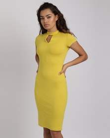 Utopia Ponti Cap Sleeve Dress With Keyhole Mustard
