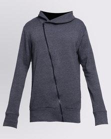 Utopia Fleece Hoodie With Asymmetrical Zip Charcoal Melange