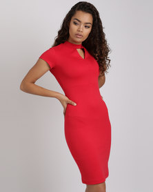 Utopia Ponti Cap Sleeve Dress With Keyhole Red
