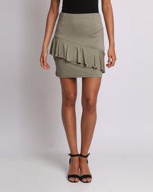 Utopia Ruffle Pencil Skirt Olive