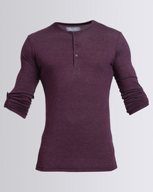 Utopia Henley Tee With Roll Up Sleeve Burgundy Melange