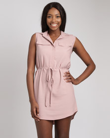Utopia Sleeveless Shirt Dress Nude