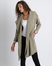 Utopia Knit Wrap Coat Olive