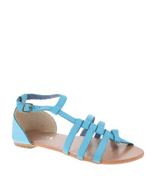 Utopia Cross Strappy Flat Sandals Blue
