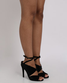 Utopia Velvet Heel Sandals Black