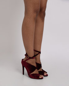 Utopia Velvet Heel Sandals Red