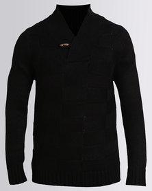 Utopia Shawl Collar Jumper Black