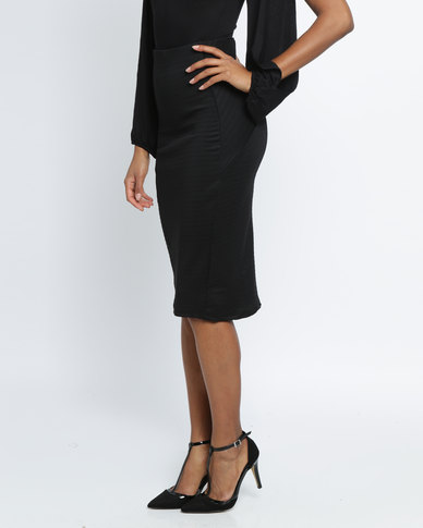 Utopia Ribbed Ponti Pencil Skirt Black