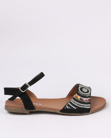 Utopia Beaded Flat Sandal Black