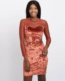 Utopia Velvet and Lace Sweetheart Dress Rust