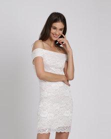 Utopia Bardot Lace Dress Neutrals