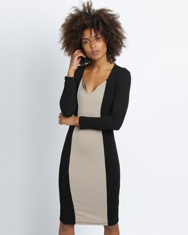 Utopia Colourblock Sheath Dress Black/Stone