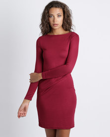 Utopia Knit Tuck Dress Burgundy