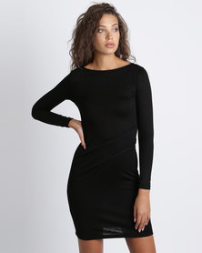 Utopia Knit Tuck Dress Black