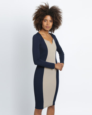 Utopia Colourblock Sheath Dress Navy/Stone