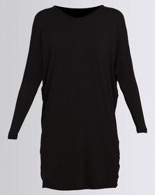 Utopia Batwing Knit Dress With Mesh Panel Black