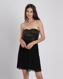 Utopia Metallic Mesh Sweetheart Party Dress Copper/Black
