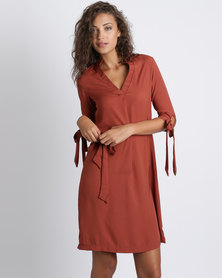 Utopia Sheen Shirt Dress Rust