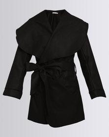 Utopia Wrap Melton Coat Black