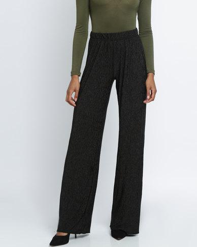 Utopia Crushed Knit Wide Leg Pants Black