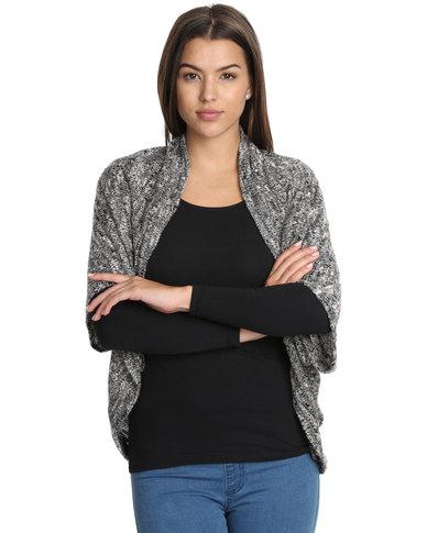 ... Cardigans Casual Cardigans Utopia Boucle Cut n Sew Cardi Black/Grey  Undercut Boucle