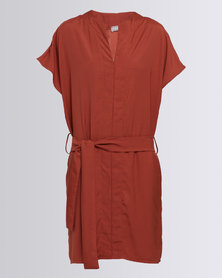 Utopia Belted Tunic Dress Rust