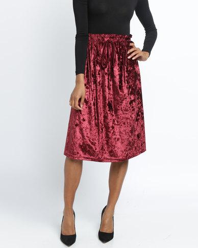 Utopia Crushed Velvet Skirt Burgundy