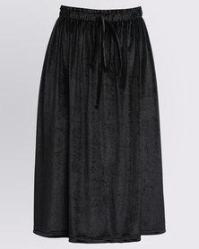 Utopia Crushed Velvet Skirt Black