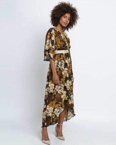 Utopia Floral Print Maxi Dress Brown